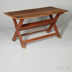 Red-painted Pine Sawbuck Table, (imperfections), ht. 28, wd. 55 1/2, dp. 27 1/2 in.