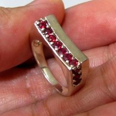 3.50 g Purplish Red RUBY RING 925 Silver Jewelry Size 5