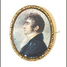 A Victorian oval portrait miniature brooch, Enclosing a painted profile of a gentleman, in white cravat, and dark coat, within gilt metal foliate decorated mount,