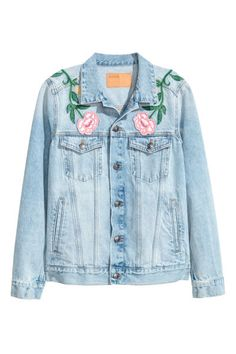 Check this out! Jacket in washed denim with heavily distressed details, buttons at front, and embroidery and appliqués at front and back. Collar, chest pockets with flap and button, diagonal pockets at front, and adjustable tabs at sides. - Visit hm.com to see more.