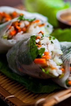 Spring Rolls With Carrots, Turnips, Rice Noodles and Herbs Recipe - NYT Cooking Herb Recipes, Asian Recipes, Healthy Recipes, Ethnic Recipes, Asian Foods, Cold Sesame Noodles, Rice Noodles, Vegetable Spring Rolls, How To Cook Rice