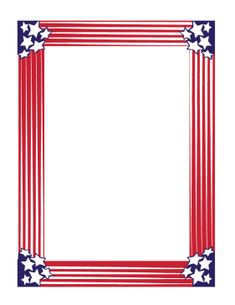 This all American patriotic border features stars and stripes in a colorful red, white, and blue design. It's ideal for Fourth of July flyers, USA political campaign posters, and more. Free to download and print.