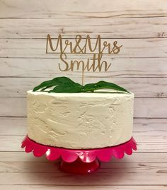 Adorn your wedding cake with this lovely, personalized cake topper! Completely customizable, this will have your new names as Mr. & Mrs.! As shown in rose gold, it is about 6 wide but can be made another size upon request. Please message me for any special requests - size, color, font