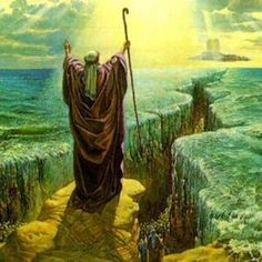 Moses parting The Red Sea is depicted in this picture from the Old Testament of the Holy Bible. Many paintings and films about this topic has been produced. Images Bible, Bible Pictures, Miracles In The Bible, Parting The Red Sea, Bible Timeline, Religion, Learn Hebrew, Biblical Art, Bible Stories