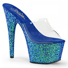 "Pleaser 7"" blue glitter exotic dancer shoes"