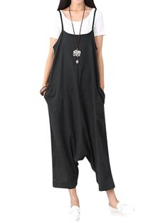 3caa8e98585e Women Sleeveless Spaghetti Strap Cotton Casual Jumpsuits Jumpsuit Dressy
