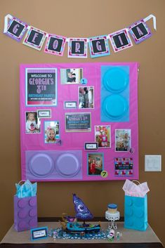 Decor + Birthday Girl Board from a Girl Themed Lego Party via Kara's Party Ideas | KarasPartyIdeas.com (10)
