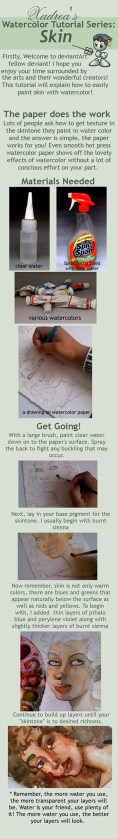 Watercolor Tutorial: Skin by Xadrea on deviantART
