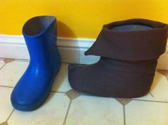 Such a great idea-- building Pan's boots on top of wellies-- too bad I want to keep his frog boots forever and ever.