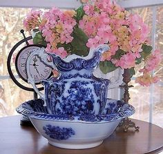 ANTIQUE Wood & Sons Victorian FLOW BLUE SHARON Pitcher Bowl Set Flo Jug Basin