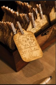 want something like this for place-cards but on something that stand alone as we will be creating a compass spoke