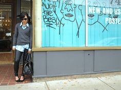 Downtown urban cool always looks better in leather and an oversized mens shirt.