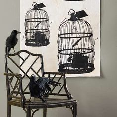 Bleak Birdcage Decoration Take clip-art birdcage image, make an oversize print at a copy center, spritz with coffee to give it an aged appearance and hang. Add a few well-placed crow or raven decorations. Halloween Wall Decor, Creepy Halloween Decorations, Theme Halloween, Halloween Crafts For Kids, Holidays Halloween, Halloween Diy, Happy Halloween, Monster Party, Hitchcock Film