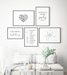 Minimalist bedroom art prints,Bedroom decor,Woman bedroom wall art,Girl room decor,Bedroom gallery wall prints,Black white wall art,Heart by PrintableLoveStory on Etsy