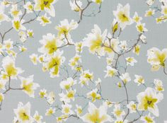 Kew Jonquil - Xanthina - Printed Linen : Designer Fabrics & Wallcoverings, Upholstery Fabrics