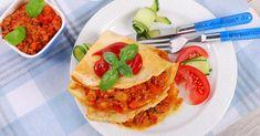 Recette de Crêpe salée à la viande hachée maigre et sauce tomate façon bolognaise. Facile et rapide à réaliser, goûteuse et diététique.
