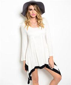 Vestido de algodón manga larga blanco con negro. Piscis Style, tu tendencia fashion