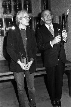 Andy Warhol and Salvador Dali at a screening of Shampoo. February 12, 1975