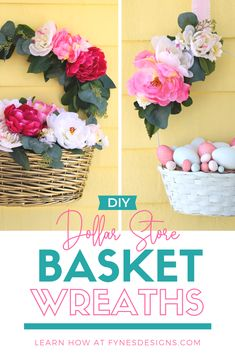 Learn how to take am ordinary basket and make it into a spring Easter basket wreath with only supplies from the dollar store! Diy Wreath, Wreath Ideas, Door Wreaths, Wreath Making Supplies, Easter Crafts, Easter Projects, Easter Decor, Easter Ideas, Dollar Tree Crafts