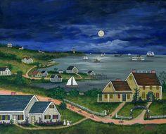 "Jan L. Munro (20th - 21st Century Folk Artist) Mixed Media on Masonite Titled ""Night Riders, Nantucket"", signed lower right. 11 in. x 14 in."