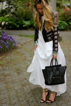love love love the jacket with the crisp white maxi. Via: fashion love affair