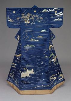 century (Edo Period) kimono (uchikake) with a design of famous places in Kyoto embroidered in green, blue and white silk and couched with gold metallic thread on a dark blue silk satin ground (William Sturgis Bigelow Collection)