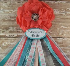 Coral and Teal Mommy Corsage Baby Shower Corsage by BloomingParty
