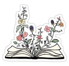 flowers growing from book  Stickers