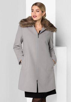sheego Class Kurzmantel, abnehmbarer Fellimitatkragen; Mode für Frauen  Modetrends Styling Tipps Fashion Mode Frauen