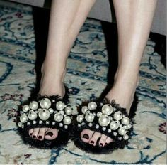 77.40$  Buy now - http://ali2ju.shopchina.info/1/go.php?t=32795375207 - 2017 Brand Fur Flat Slippers Women Shoes Fashion Pearl Slippers Sexy chaussure femme sandals flip flops Slides 77.40$ #buyonline