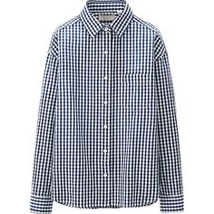 WOMEN PURE BLUE JAPAN CHECK CROPPED LONG SLEEVE SHIRT