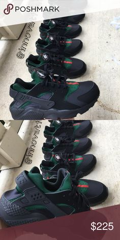 online store a6ec5 9a725 Gucci Huarache Shoes Base All Black Huaraches. Gucci colors were Airbrushed  and then sealed giving