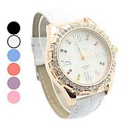 Women's Diamante White Dial PU Band Quartz Analog Wrist Watch (Assorted Colors) Off Casual Watches, Cool Watches, Digital Wrist Watch, Ebay Shopping, Quartz Watch, Fashion Watches, Bracelet Watch, Leather, Stuff To Buy