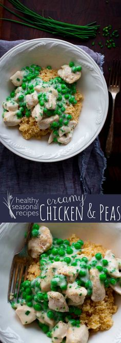 Blog post at Healthy Seasonal Recipes : Chunks of chicken breast sautéed with sweet peas and chives in creamy sauce. Ready in 18 easy minutes and kid friendly!