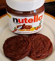 Nutella cookies with only 4 ingredients- 1 cup nutella, 1/2 cup sugar, 1 cup flour, 1 whole egg.