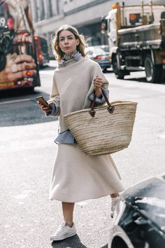 Three rules to wearing head to toe neutrals this spring on the blog now! Seen here: street style of colors we love plus a straw bag for creating a perfect tonal spring look.