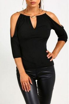 New Women Ladies Clothing Loose Summer Cotton Casual Blouse Shirt Tops Fashion Blouse New Women Clothes Sexy Slit Sleeve Top Material: ChiffonColor: BlackStyle: Fashion, CasualSize: S,M, L, XL Mode Outfits, Casual Outfits, Fashion Outfits, Womens Fashion, Ladies Fashion, Blouse Styles, Blouse Designs, Black Blouse, Shirt Blouses