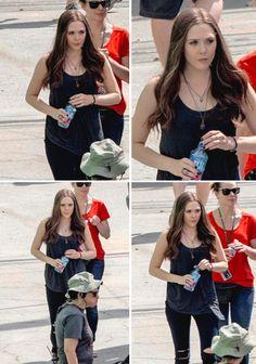 "Elizabeth Olsen (Wanda Maximoff/Scarlet Witch) on the set of ""Captain America: Civil War,"" May 15, 2015."