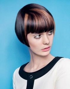 Short bob hairstyle with straight and long bangs
