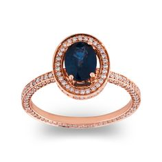 18ct Rose Gold Oval Blue Sapphire Stella Halo Engagement Ring with full Pave set Diamond Shank.