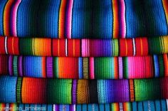 mexican serape blankets wholesale i think a stack of these for guest to take to lounge on the beach after the wedding would be great All The Colors, Vibrant Colors, Colours, Mexican Colors, Mexican Textiles, Mexican Fabric, Rainbow Colors, Framed Art Prints, Bunt