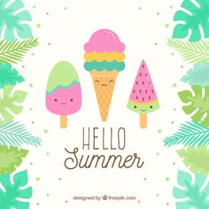 Summer background with cute ice creams Free Vector Cute Summer Backgrounds, Cute Wallpaper Backgrounds, Cute Cartoon Wallpapers, Happy Summer, Hello Summer, Free Summer, Doodle Icon, Summer Wallpaper, Free Cartoons