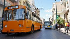 A trolleybus in service in Piraeus, Greece, on the large Athens-area trolleybus system. The Russian-built (also known as the introduced in is the most numerous trolleybus model in history, with more than built. Bus Coach, Busses, Athens Greece, Public Transport, Transportation, Urban, Country, World, City