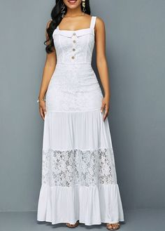 Are you searching for a White Maxi Dress? Here is the Lace Patchwork Button Detail Ruffle Hem Dress Trendy Dresses, Women's Fashion Dresses, Dress Outfits, Summer Dresses, Maxi Dresses, Casual Dresses, Trendy Clothing, White Spring Dresses, White Sundress Long