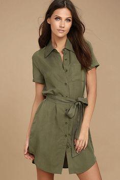 Lulus - Lulus Self-Starter Olive Green Shirt Dress - AdoreWe.com