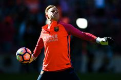 Marc-Andre ter Stegen of FC Barcelona in action during the warm up prior to the  La Liga match between FC Barcelona and RC Deportivo La Coruna at Camp Nou stadium on October 15, 2016 in Barcelona, Catalonia.