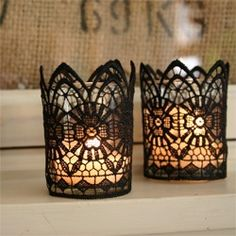 Use different types and colors of lace...attach to clear votive candles!