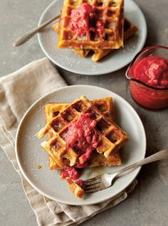 Waffles with Strawberry Rhubarb Compote | Make it ahead! The batter for these extra-crisp, yeast-leavened waffles is quickly mixed the night before, so it's ready to pour into the waffle iron the next morning. The compote can be made up to 2 days in advance.