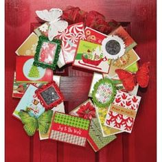 Christmas Card Wreath diy from Michaels. What a fantastic way to display your recycled cards from the past!