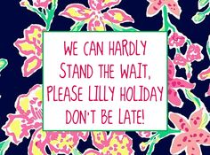 WE CAN HARDLY STAND THE WAIT, PLEASE #LILLYHOLIDAY DON'T BE LATE!